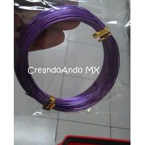 Alambre Para Bisuteria Aluminio 0.8 Mm X 10 Mts Color Morado