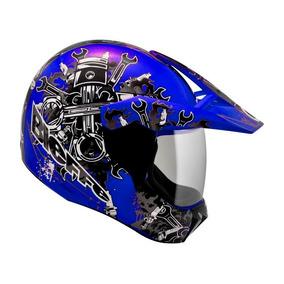 Capacete Bieffe 3 Sport Mechanic Azul Motocross Cross Trilha