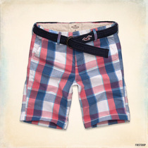 Short Fit Hollister Red And White Plaid Tallas 28 34
