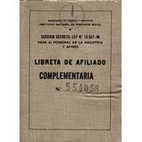 Libreta Afiliado Complementaria Año 1950 I.prevision Social