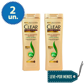 2 Shampoos Anticaspa Clear Pós Alisamento Químico 200 Ml