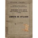 Antigua Libreta De Afiliado - Año 1946 - I. Prevision Social