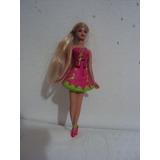 Boneca Miniatura Barbie De Vestido Rosa E Verde Mattel 2012