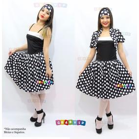 Fantasia Adulto - Anos 60 Vestido Poá De Bolinhas C/ Bolero
