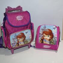 Kit Mochila Infantil Pequena Rodinhas Princesa Sofia + Lanch