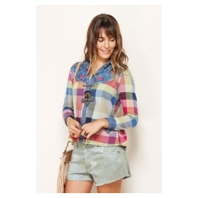 Camisa Blusa Farm Bordada Jeans Mix Flanela Colorida - Tam M
