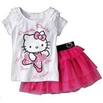 Conjunto - Vestidos - Bebê Infantil Hello Kitty Blusa Saia