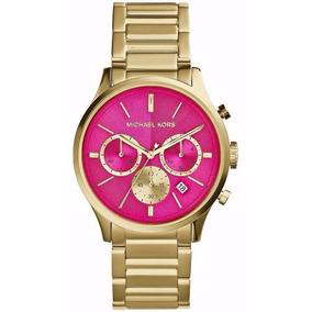 Relogio Michael Kors Silicone Pink Mk5206 Rosa - Relógios De Pulso ... a1e7751af6