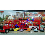 Cars Mack Rayo Trailer Giganteeeee 58 Cms + 12 Carritos