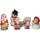Navidad, Santas, Hombres De Nieve, Muñecos, Cerámica, Combos