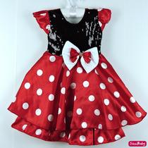 Vestido Infantil Festa Luxo Minnie Vermelho Bolas Brancas