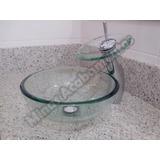 Kit Banheiro Cuba Vidro 30cm Torneira Cascata Valvula Clic