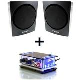 Mini Amplificador 40w Som Ambiente + 2 Caixas Satelites Sony