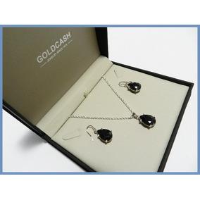 G C- Juego Aretes + Cadena + Dije Diamante Negro Oro Plata