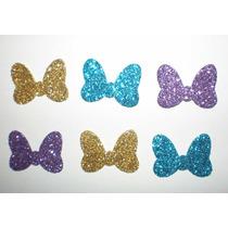 Aplique Eva Laço Laçinho Minnie Glitter Cores Variadas 50 Un
