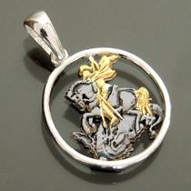 Medalha São Jorge Em Prata C/ Banho De Ouro 18k+ Ródio Negro