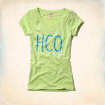 Camiseta Decote V Feminina Hollister Tamanho M Original