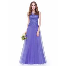 Vestido Casamento Madrinha Formatura Longo Rendas Lilás