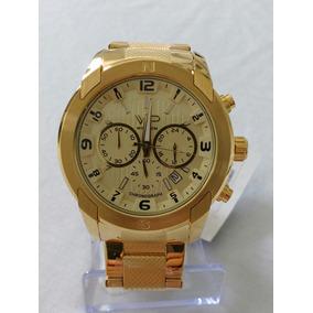 Relógio Dourado Masculino Original Vip Nautilus Frete Grátis