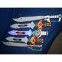 Lote Com 5 Espadas Brinquedo Som Luz Led