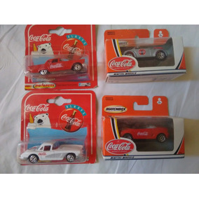 Lote 4 Carritos Cocacola Matchbox En Cajita Carton Nuevos