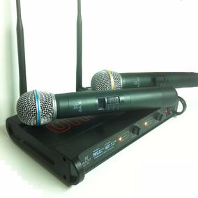 Microfone Duplo S/ Fio Display Lcd Profissiona Ku-65 A-11