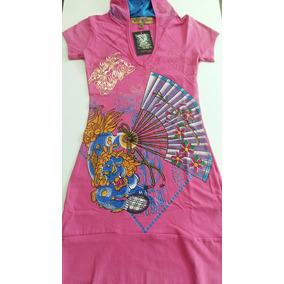 Vestido Ed Hardy C/ Capuz Tam.m Rosa E Azul Frete Grátis