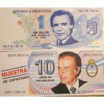 Lote De 2 Billetes Pesos Menem Truchos 1995 Y 1999