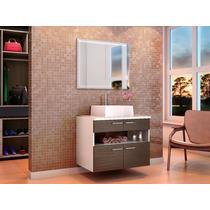 Gabinete Armário Para Banheiro Com Pia Paris Branco/avelã
