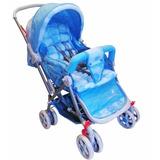 Carrinho De Bebê Vira Berço Passeio Reversível Azul Bola