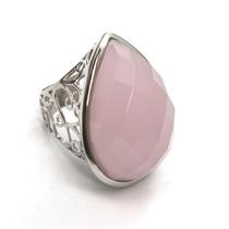 Imponente Anel Com Pedra Cristal Rosa Em Prata 925 - G329