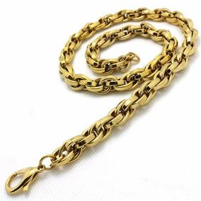 Corrente Cordão Masculino Aço Inox Grossa 316l Cor Ouro 60cm