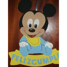 Cartel Cumpleaños -mickey / Minnie Bebe - Goma Eva 46 X 39cm