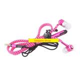 Fone Ouvido Estilo Ziper Rosa Ear Plug C Mic Samsung Iphone