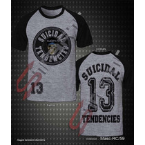 Camiseta Raglan Cinza Suicidal Tendencies