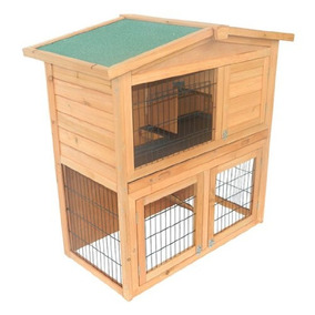 Pawhut 40 \conejo De Madera Hutch Small Animal House Jaula