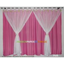 Cortina Fuxico Flor Voil Jersey Infantil Pink Lindas Flores