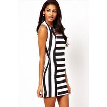 Mini Vestido Importado Moderno Rayado Negro Y Blanco