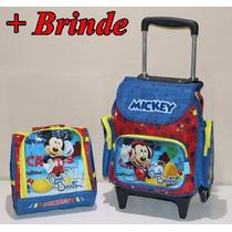 Kit Mochila Infantil Rodinha Mickey Pequena + Lancheira