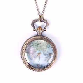 Reloj De Bolsillo Tipo Vintage De Mapa De Mundo A Color 5