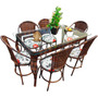 Conjunto De Mesa De Jantar E 6 Cadeiras Rattan Varanda -