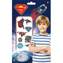 Paquete De 75 Tatuajes Temporales De Superman Dc Comics