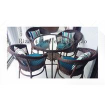 Conjunto De Mesas 4 Cadeira Jardim Varanda Fibra Sintética