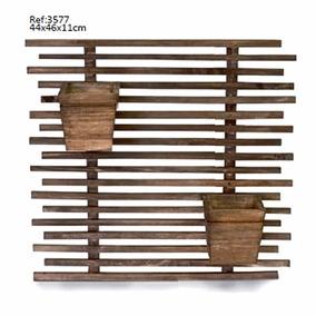 Arranjo Flor Jardim Vertical 2 Cachepot Vaso Madeira 3577