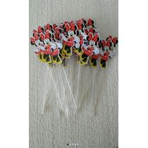 Kit Com 100 Apliques Toppers Recortes Minnie Vermelha Rosa