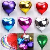 10 Globos Metalizados Corazón/estrellas Plateadas 18