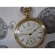 Relógio De Bolso Waltham Antigo Folhado Ouro Porcelana Raro