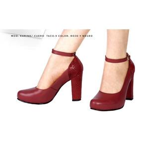 Zapatos De Mujer Puro Cuero, Taco 9-10 Moda Exclusiva