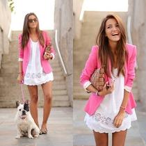 Blazer Zara Importado Forrado Pink Colorido Envio Imediato
