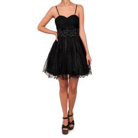 Vestido Corto Con Tul Con Brillo Y Piedras Aplicadas, M-0021